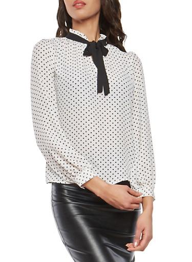 Polka Dot Tie Keyhole Neck Blouse,WHT-BLK,large