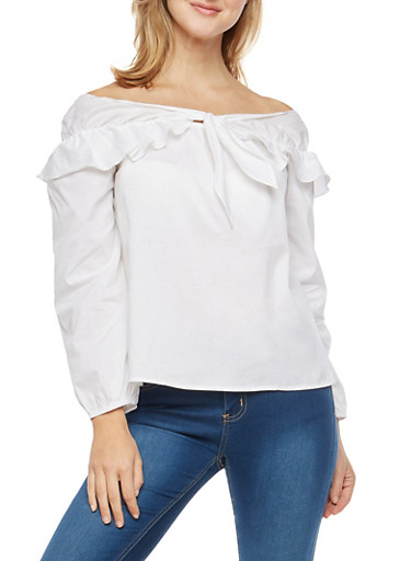 Off the Shoulder Top with Tie Detail,WHITE,large