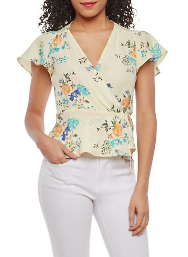 Floral Flutter Sleeve Wrap Top,YELLOW,large