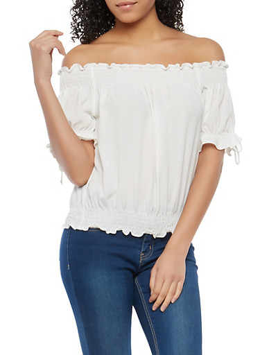 Smocked Trim Off the Shoulder Top,WHITE,large
