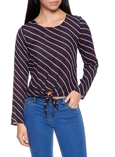Striped Tie Front Top,NAVY,large