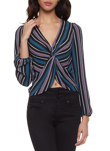 Striped Twist Front Top,BLACK,large