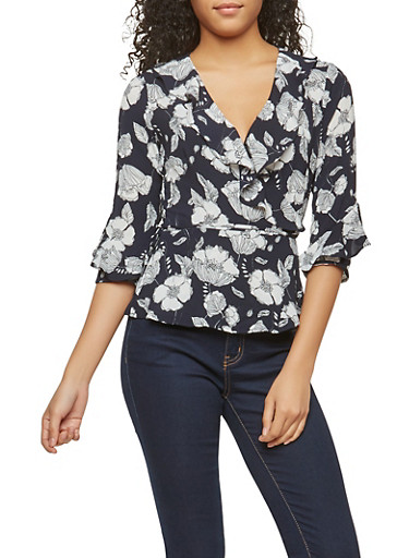 Floral Print Ruffle Wrap Top,NAVY,large