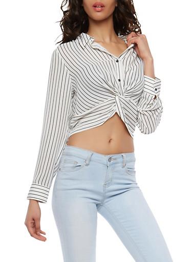 Twist Front Striped Crop Top,BLACK/WHITE,large
