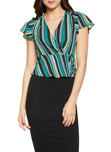 Striped Wrap Top,HUNTER,large
