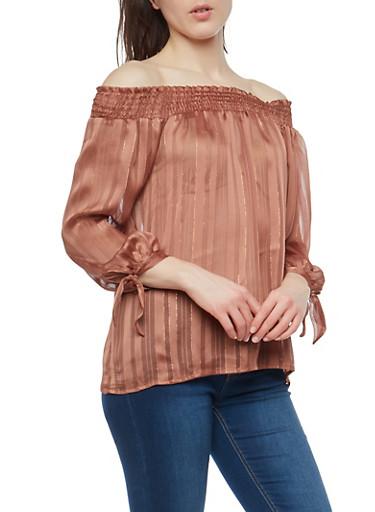 Off The Shoulder Long Sleeve Blouse,BROWN,large