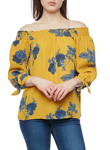 Floral Tie Sleeve Off the Shoulder Top,MUSTARD,large