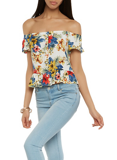Printed Off the Shoulder Top,WHITE,large