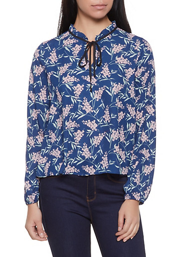 Floral Tie Neck Blouse | 1401054214787,NAVY,large