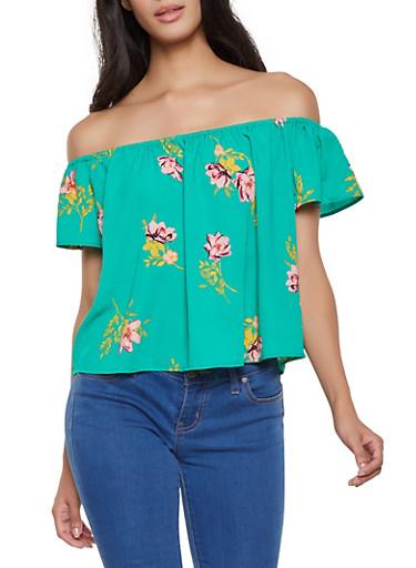 Floral Crepe Knit Off the Shoulder Top,GREEN,large