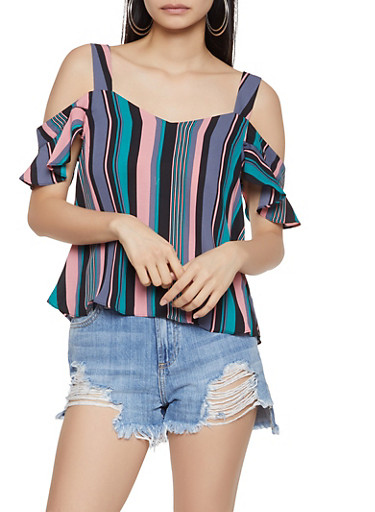 Striped Flutter Sleeve Off the Shoulder Top,PINK,large