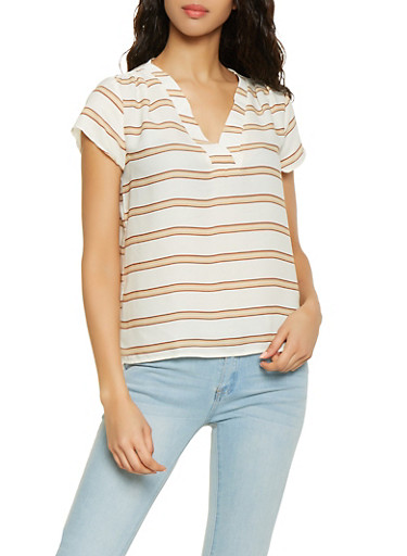 Striped Cap Sleeve Blouse,IVORY,large