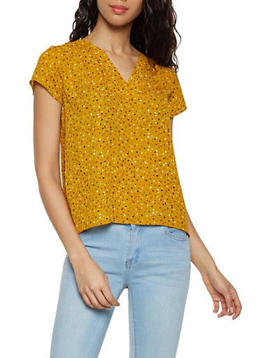 Polka Dot Top,MUSTARD,large