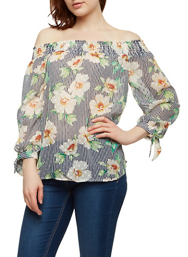 Striped Floral Off the Shoulder Top,NAVY,large