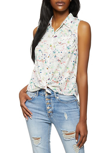 Sleeveless Paint Splatter Button Front Shirt,WHITE,large