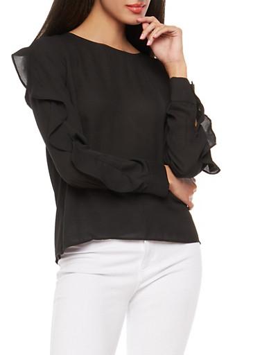 Ruffle Long Sleeve Blouse,BLACK,large