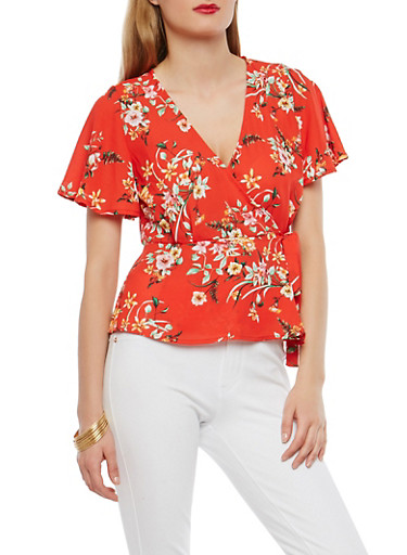 Floral Wrap Top,RED,large