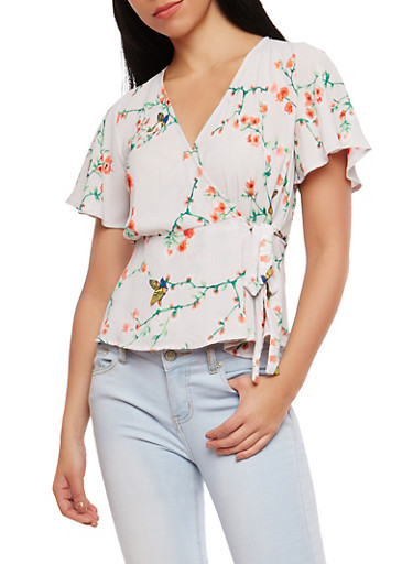 Floral Wrap Top,IVORY,large