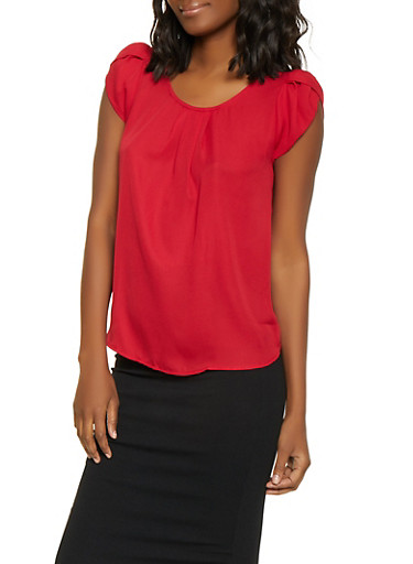 Split Sleeve Blouse,RED,large