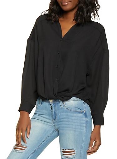 Twist Front Button Front Shirt,BLACK,large