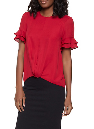 Tiered Sleeve Twist Front Blouse,RED,large