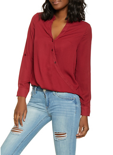 Button Front Faux Wrap Shirt,WINE,large
