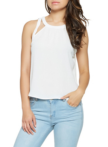 Cut Out Crepe Knit Top,WHITE,large