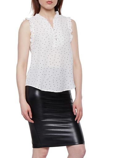Polka Dot Crepe Knit Top,WHITE,large