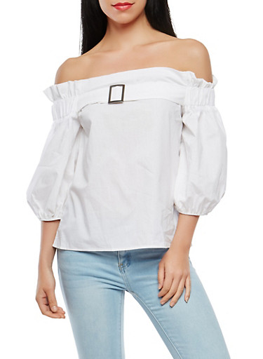 Metallic Detail Off the Shoulder Top,WHITE,large