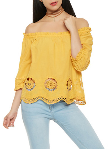 Off the Shoulder Eyelet Hem Top,MUSTARD,large