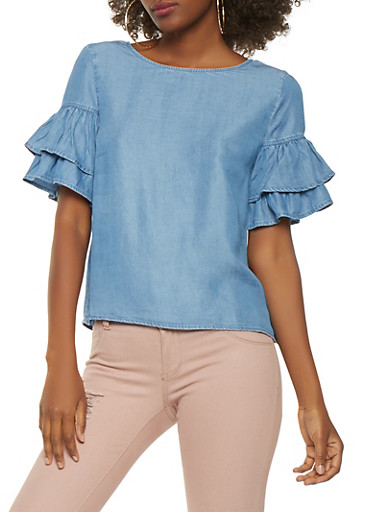 Tiered Sleeve Chambray Top,MEDIUM WASH,large