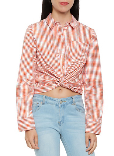 Twist Front Gingham Button Front Top,RUST,large