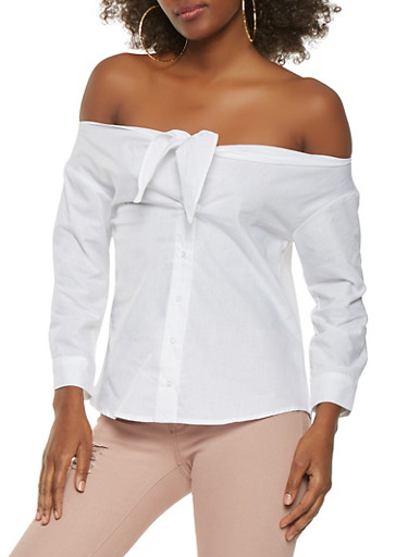 Off the Shoulder Tie Front Top,WHITE,large