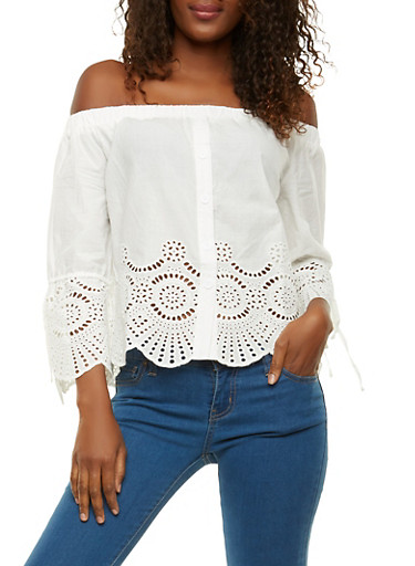 Eyelet Off the Shoulder Top,WHITE,large