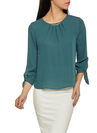 Tie Sleeve Blouse,GREEN,large