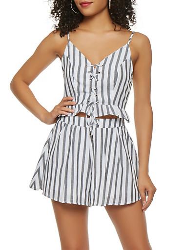 Striped Linen Lace Up Crop Top,BLACK/WHITE,large