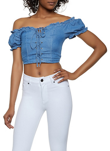 Lace Up Off the Shoulder Chambray Crop Top,MEDIUM WASH,large