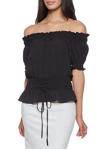 Off the Shoulder Lace Up Top,BLACK,large
