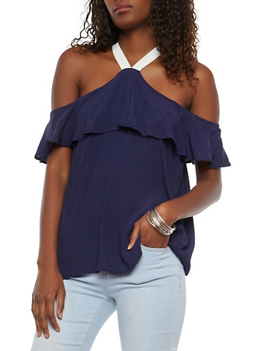 Ruffled Off the Shoulder Contrast Strap Blouse,NAVY,large