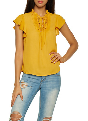 Lace Trim Tie Neck Top,YELLOW,large