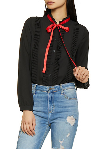 Pleated Ruffle Tie Neck Shirt,BLACK,large