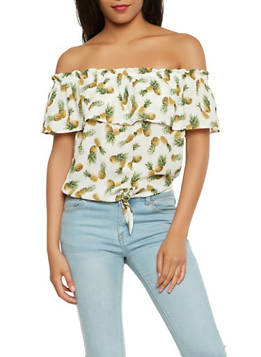 Pineapple Print Off the Shoulder Top,WHITE,large
