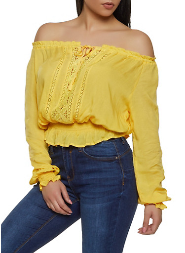 Crochet Front Off the Shoulder Top,YELLOW,large