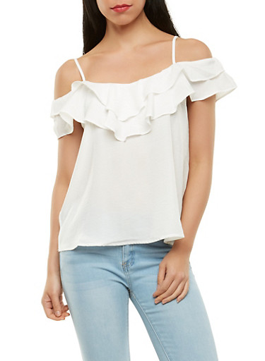Off the Shoulder Ruffle Top,IVORY,large