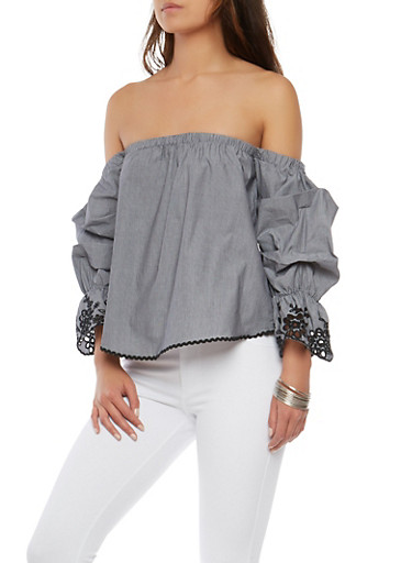 Embroidered Sleeve Off the Shoulder Top,BLACK/WHITE,large