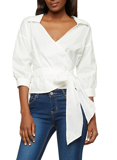 Solid Poplin Wrap Top,WHITE,large