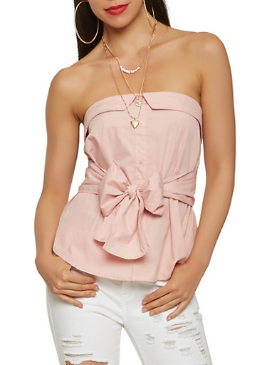 Fold Over Bow Tie Front Top,PINK,large