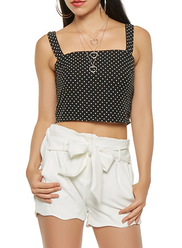 Polka Dot Crop Top,BLACK/WHITE,large