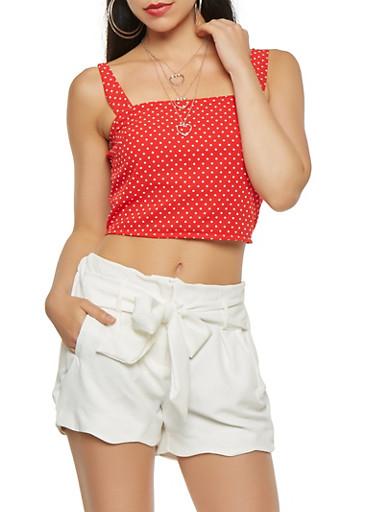 Polka Dot Crop Top,RED,large
