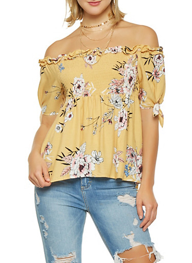 Smocked Off the Shoulder Floral Top,YELLOW,large